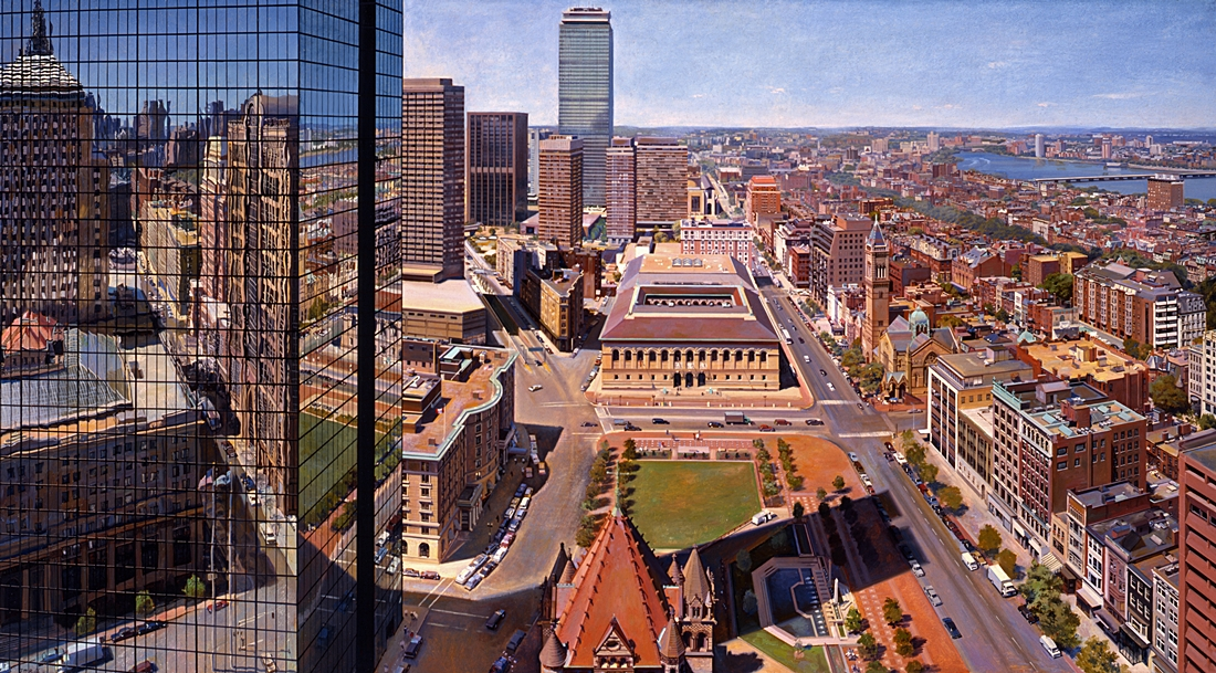 15 Copley Square from 500 Boylston, 1991, oil on linen,  36 x 66 inches