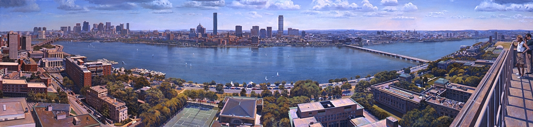16 Boston from MIT, 1996, oil on linen, 32 x 126 inches