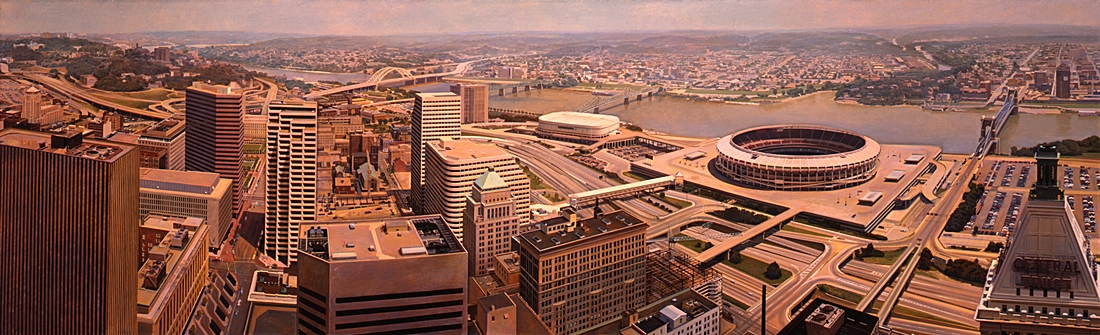 19 Cincinnati from Carew Tower, 1989, oil on linen,  34 x 108 inches