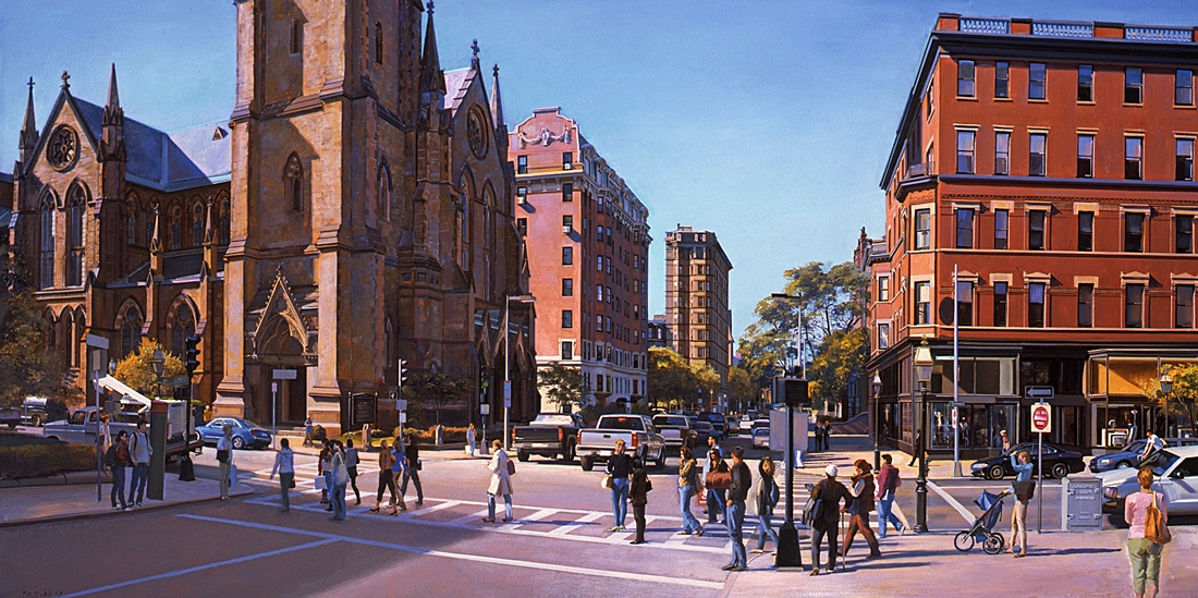 20 Berkeley and Newbury, 2009, oil  on linen, 18 x 36 inches
