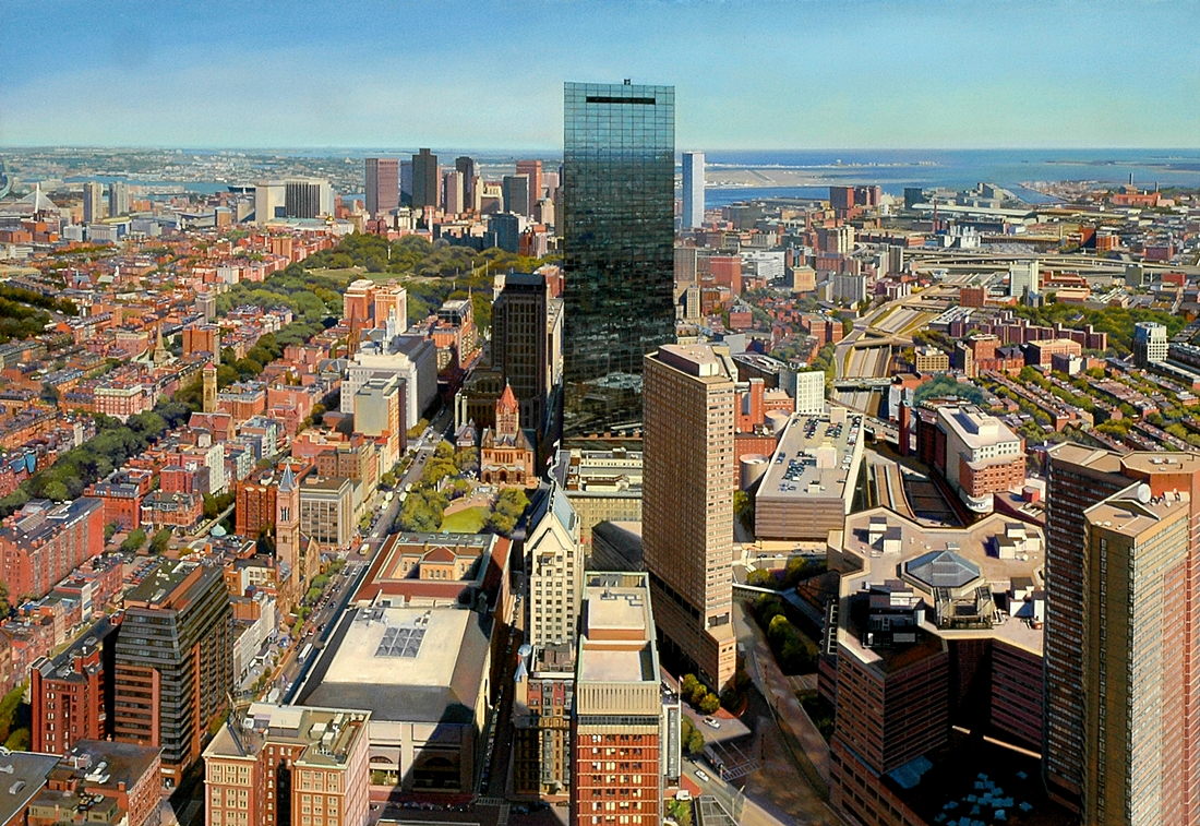22 Boston from the Prudential, 2005, oil on linen,  36 x 52 inches