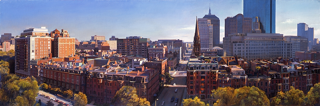 23 Back Bay Rooftop Panorama with the Ritz, 2006, oil on linen, 22 x 66 inches