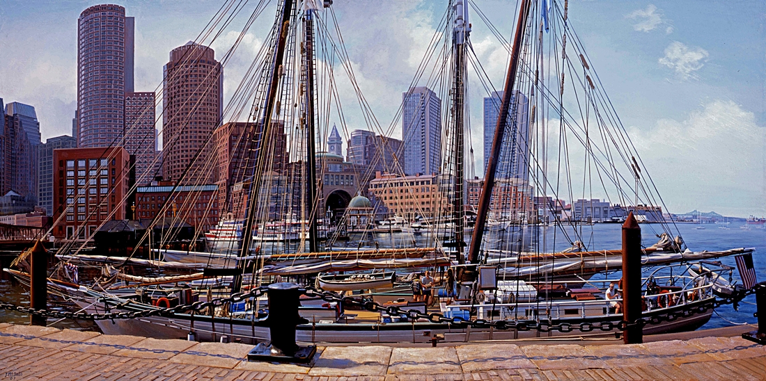 24 Rowe's Wharf from the Fan Pier, 2007, oil on linen, 24 x 48 inches