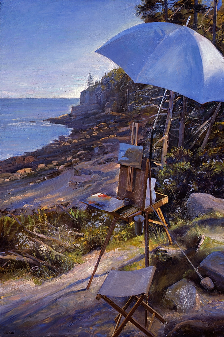 25 Easel at Otter Cliffs, Mt. Desert, Maine, 2012, oil on linen, 36 x 24 inches