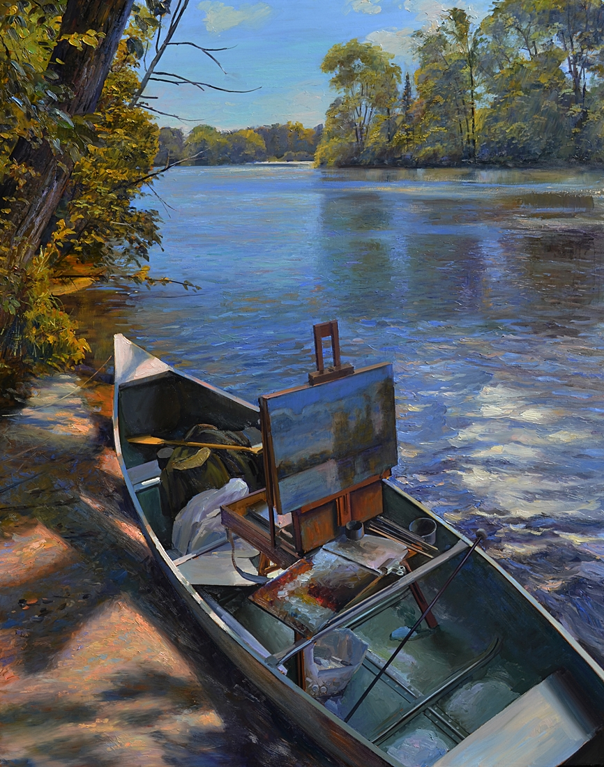 26 Painting in a  Canoe, 2011, oil on linen,  53 x 42 inches