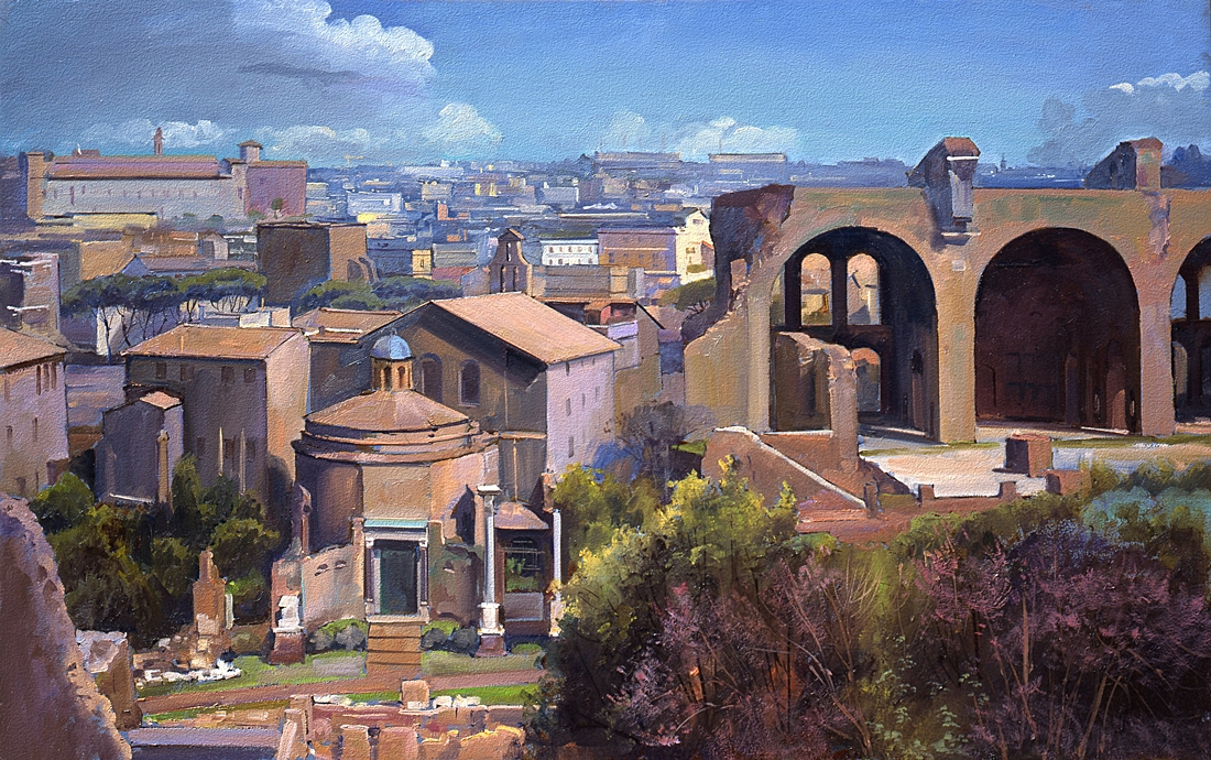 30 Temple of Romulus and Basilica of Maxentius, 2004, oil on panel, 15 x 24 inches