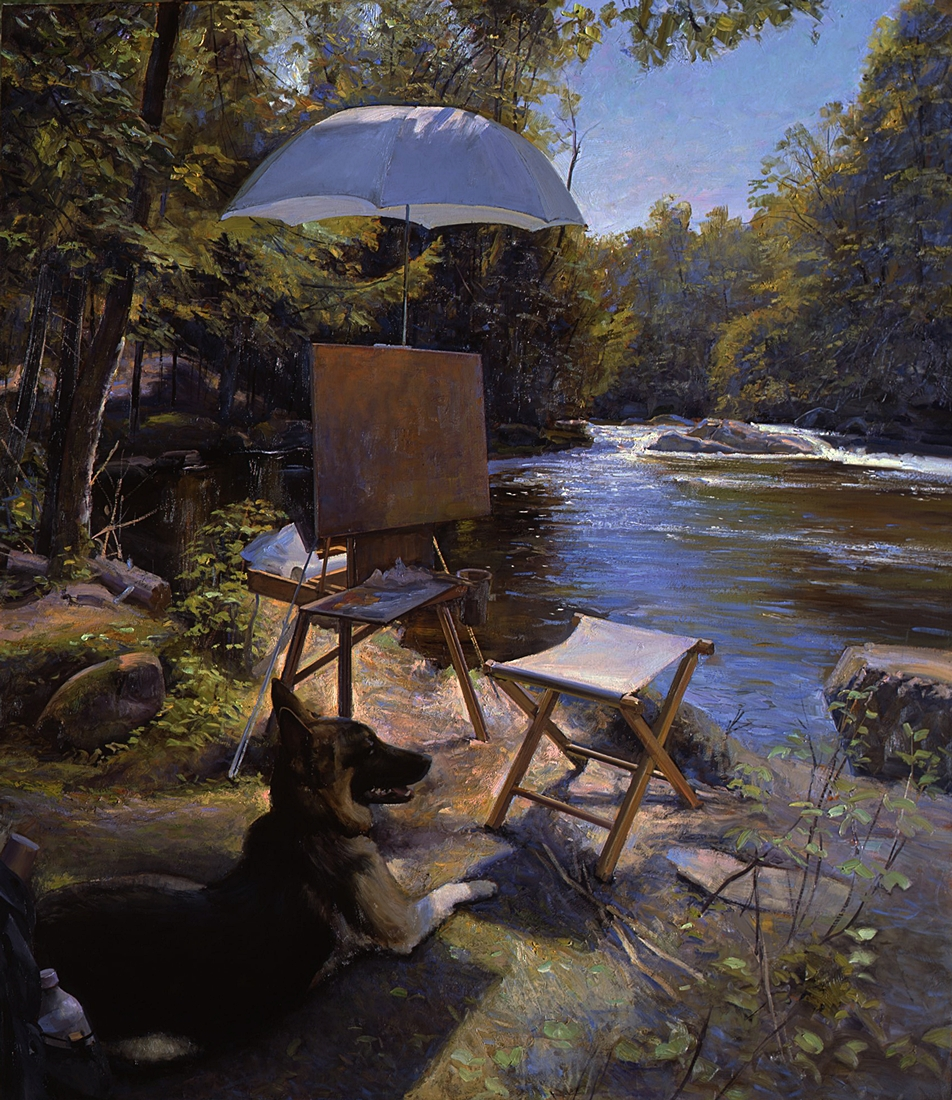 31 Painting by the Brook, Breughel Watching, 2012, oil on linen, 48 x 42 inches