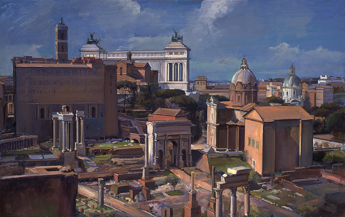 32 Campidoglio and Forum, Rome, 2004, oil on panel, 15 x 24 inches