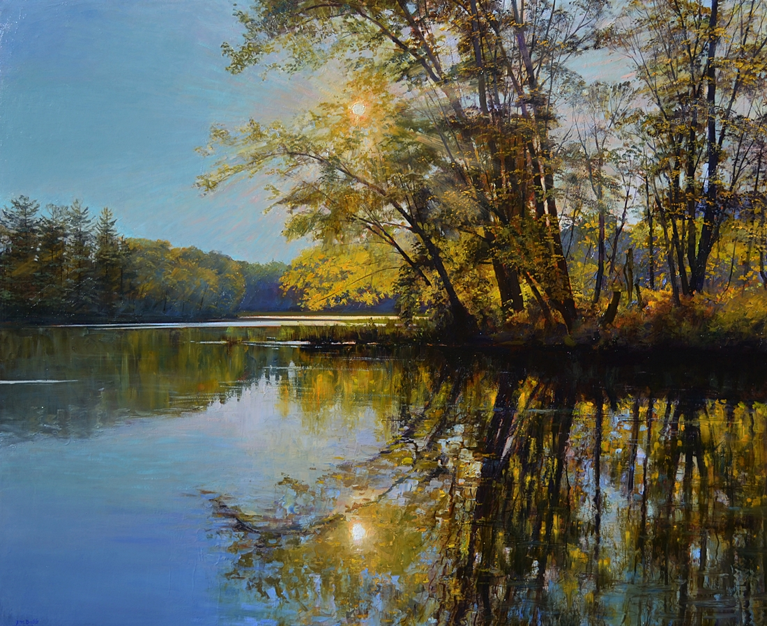 Sunset on the  River, Maine, 2012  oil on linen, 36 x 44 inches