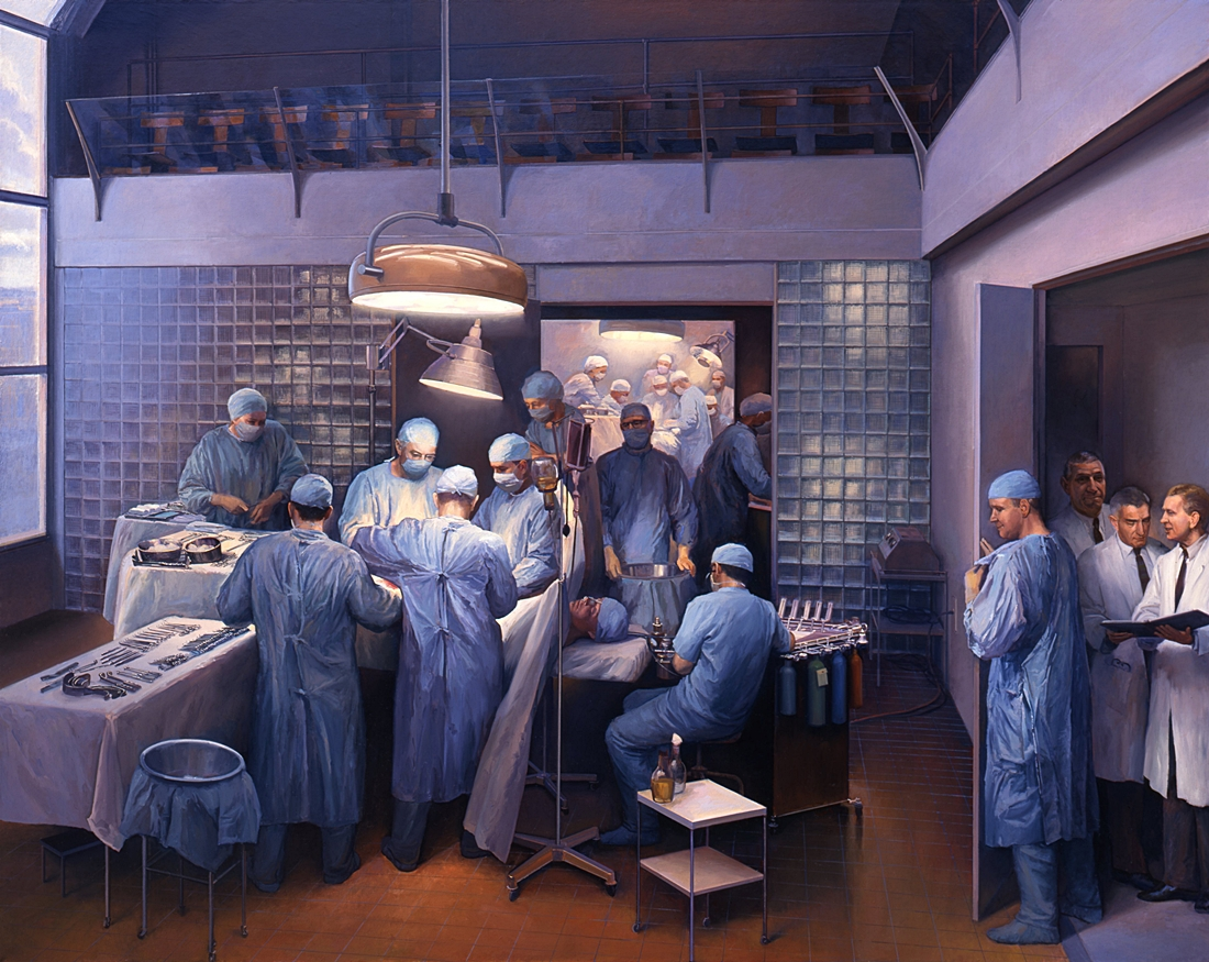 35 First Successful Organ Transplant, 1996. oil on linen, 70 x 88 inches