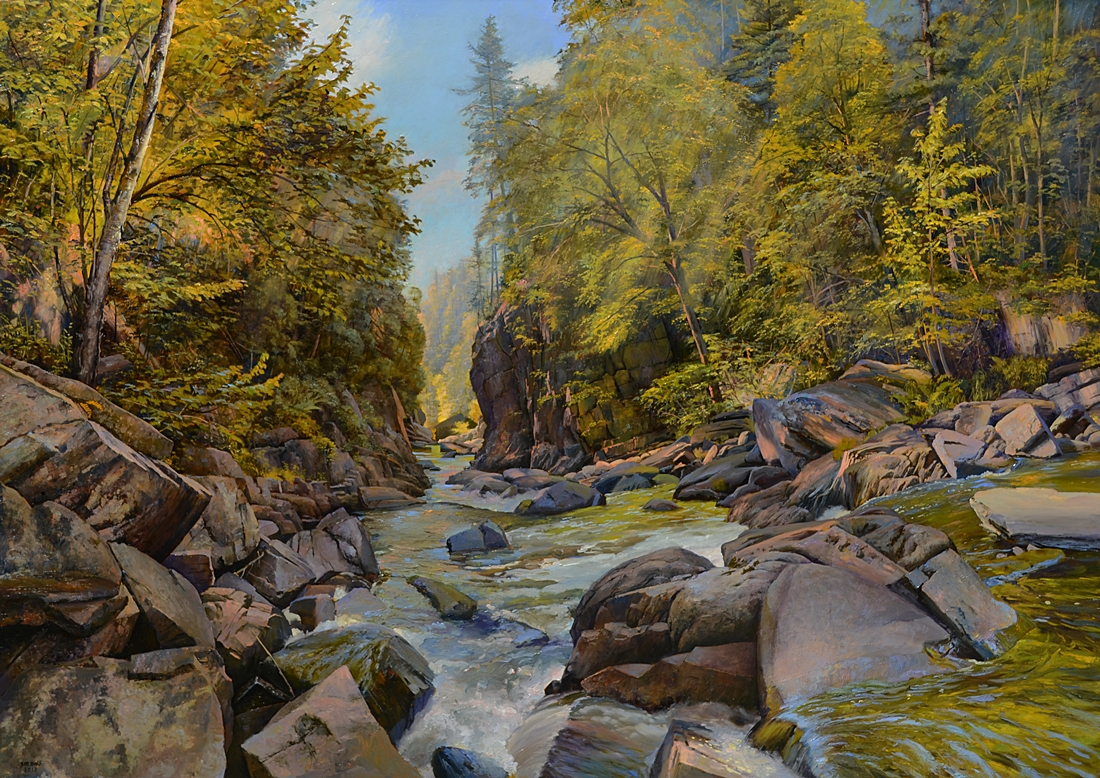 36 Gulf Hagas, Maine, 2011, oil on linen, 45 x 64 inches
