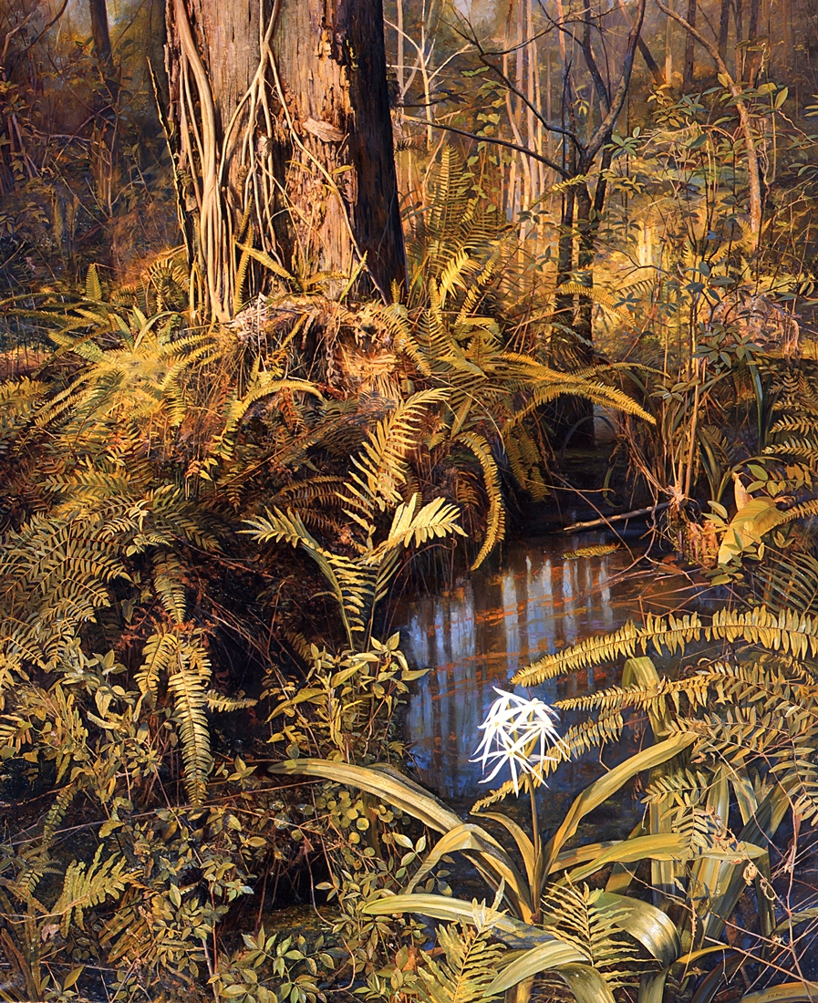 7 Lily and Cypress, The Corkscrew Swamp, Florida, 2001, oil on linen, 78 x 64 inches