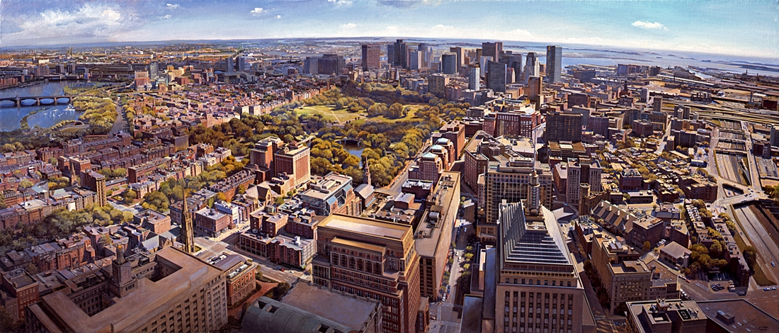 18 Boston from the Hancock Tower, 2008, oil on linen, 36 x 84 inches