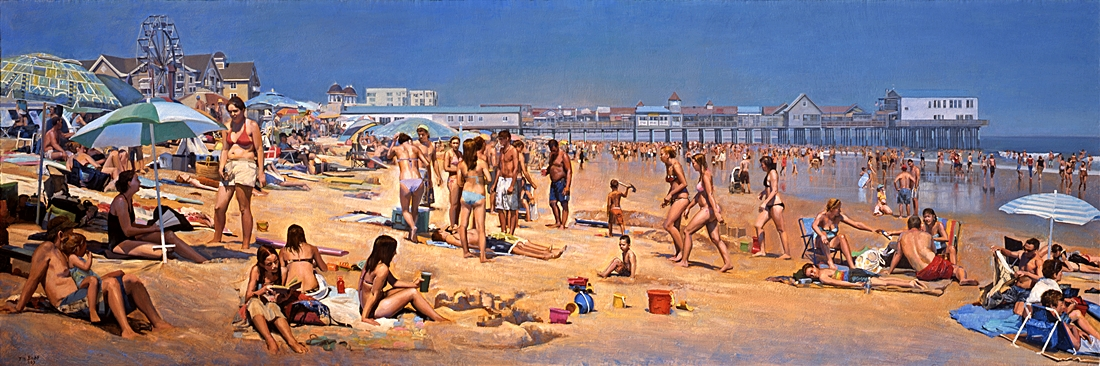 29 Beach Panorama, Old Orchard, 2009, oil on linen, 22 x 66 inches