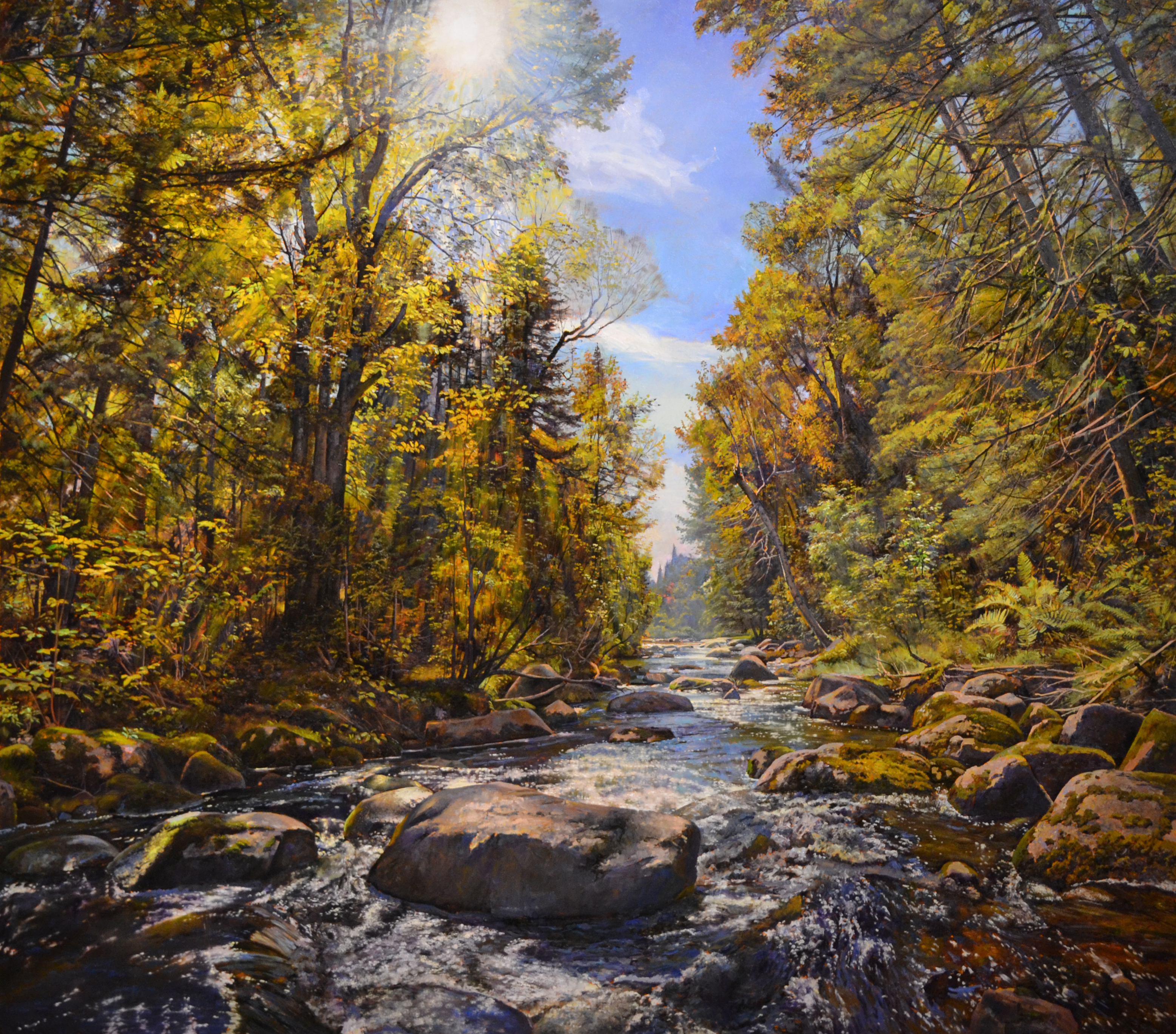 Bernd's Brook, Autumn, 2014, oil on linen, 60 x 68 inches