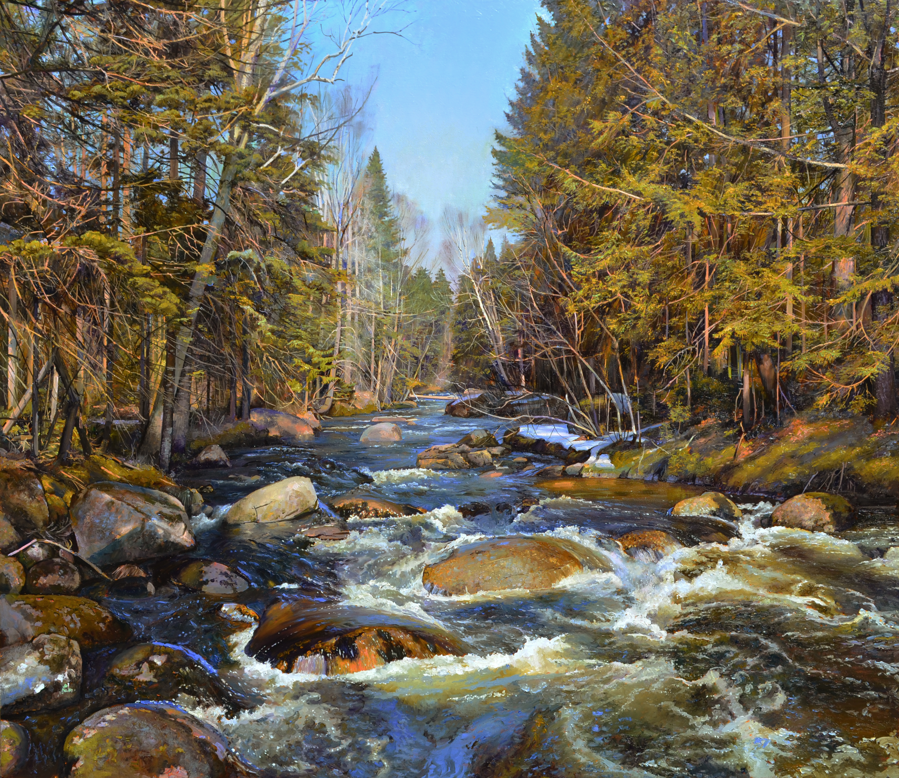 Bernd's Brook, Early Spring, 2013, oil on linen, 45 x 52 inches