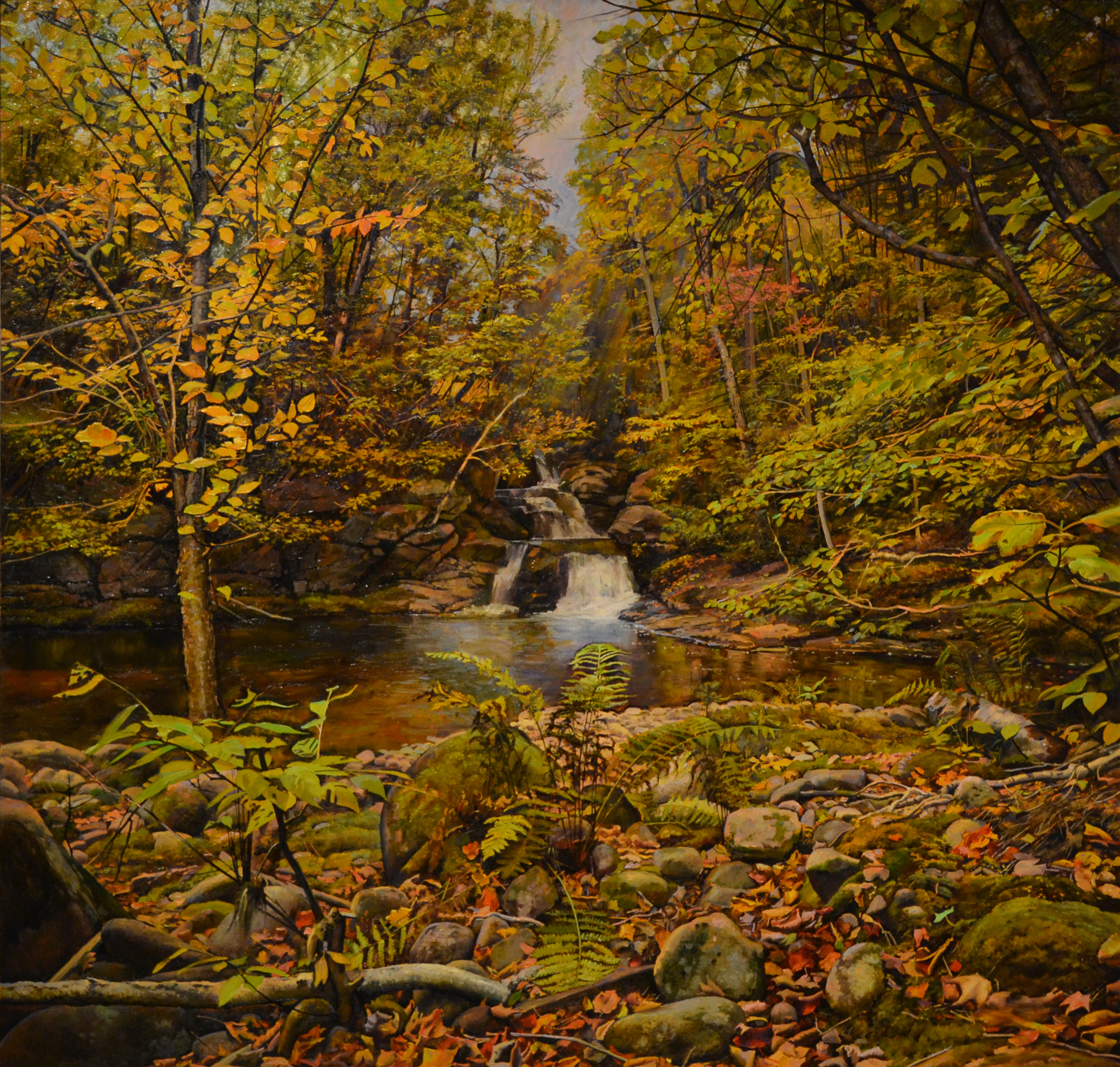 Falls and Pool in the Forest, 2014 oil on linen, 56 x 58 inches